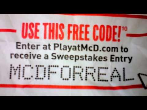 Update How to Win McDonalds PlayatMcD.com 3 FREE Codes Video