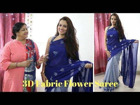 Make Your 3D Fabric Flower Designer Saree Under Rs. 500 {Part 5}