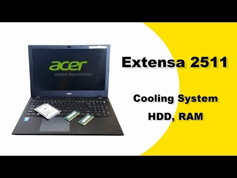 ACER Extensa 2511 disassemble, HDD replacement, RAM replacement, Clean Cooling System