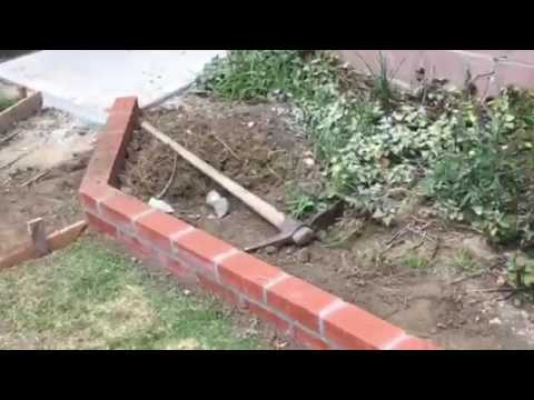 Installation of a Brick Planter in Back Yard by Crown Construction / FREE ESTIMATES / 818-974-3210