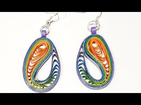 61. Quilling Comb Earrings - Peacock feather new design
