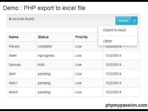 How To Download/Export Excel Using PHP Script || Download CSV Using PHP || PhpMyPassion