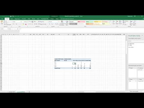 how to use 2016 excel to create row, column percentage and probability crosstabulation
