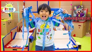 Chuck E Cheese Box Fort Arcade Games with Ryan ToysReview!!!