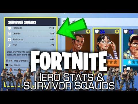 Fortnite - Hero Stats & Survivor Squads Explained (Job & Personality Match + Bonuses)