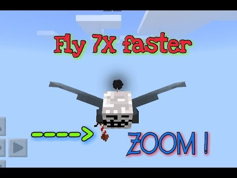 [MCPE]How to Fly 7X faster With ELYTRA WINGS IN Minecraft POCKETEDITION!!!!