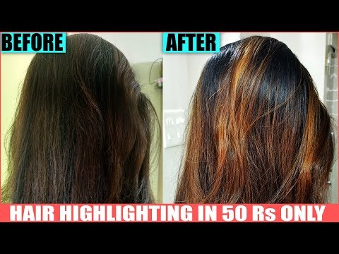 Easy Hair highlights at home - how to color hair BROWN-fashion hair color-Permanent Highlights-hindi