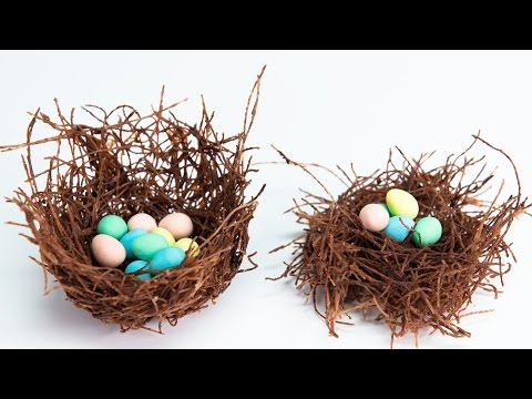Edible Chocolate Nests filled w/ Cadbury Mini Eggs from Cookies, Cupcakes and Cardio