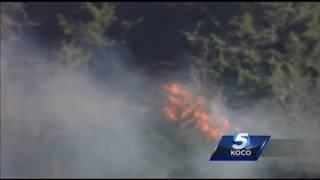 Sky 5 flies over wildfire in Macomb