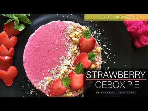 Strawberry Icebox Pie Video | Healthy Frozen Dessert Recipe | No Bake Strawberry Pie Dessert