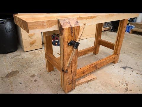 Hickory Workbench Leg Vise and Dog Holes