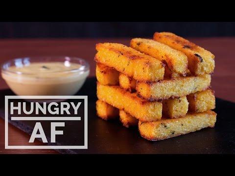 Baked Polenta Fries with Garlic Aioli | Hungry AF