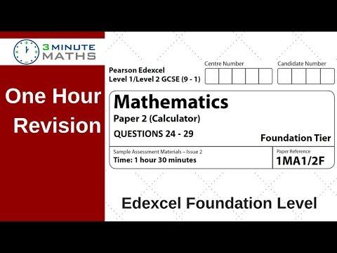 Edexcel Foundation Paper 2 Calculator Revision - Questions 24 - 29