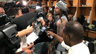 "Marshawn Lynch TROLLS Reporters With TRASH CAN: ""Don't Cross My Barrier"""