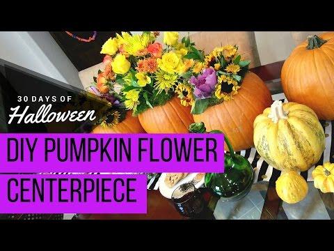 DIY Pumpkin Centerpiece with Fresh Flowers #JPHalloween #ProFlowers