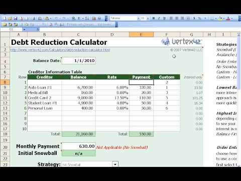 How to use the Free Debt ReductionSnowball Calculator from Vertex42