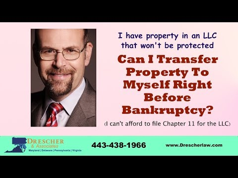 Can I Transfer Property To Myself Right Before Bankruptcy?