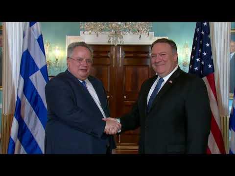 Secretary Pompeo Greets Greek Foreign Minister Kotzias