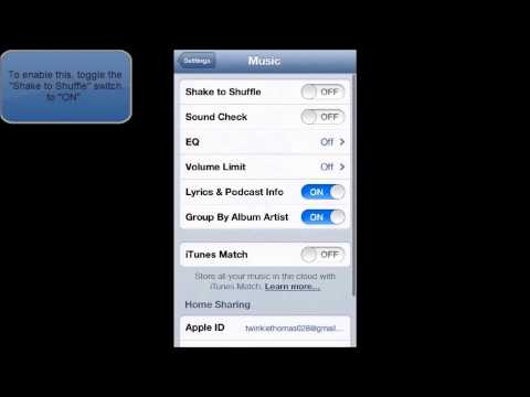 HOW TO ENABLE OR DISABLE SHAKE TO SHUFFLE IN IOS 6 IPHONE 5 IPOD TOUCH)