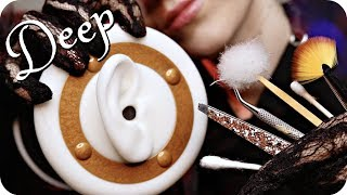 ASMR Ear Cleaning DEEP w/ Scraping (NO TALKING) Q-Tips, Tweezers, Feather, Metal & Bamboo Pick +