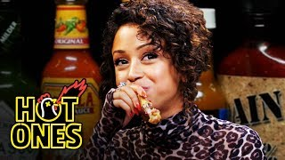 Liza Koshy Meets Her Future Self While Eating Spicy Wings | Hot Ones