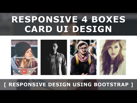 Html Css Responsive 4 Boxes Card UI Design Using Bootstrap - Css Image Hover Effects - Responsive