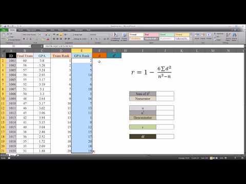 Spearman's Rank Correlation Coefficient in Excel