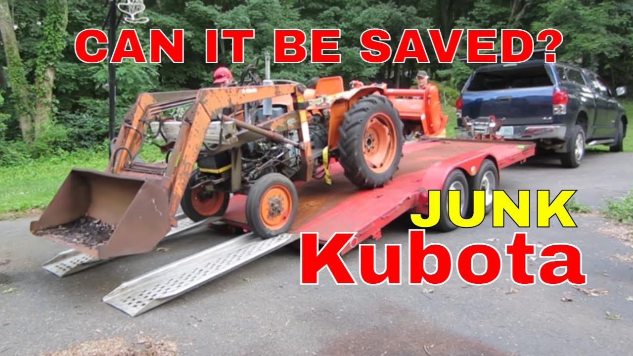 WILL IT RUN?  Thrashed Kubota Diesel Tractor