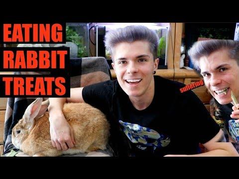Eating Rabbit Treats with Desmond!