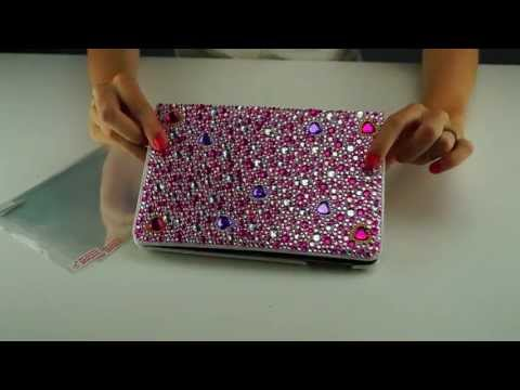 ECO-FUSED Pink BLING and white leather case for the iPad Mini