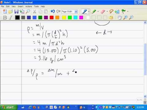 Uncertainty in a density calculation example
