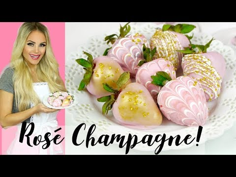 How To Make Chocolate Covered Rosé Champagne Strawberries // Lindsay Ann Bakes