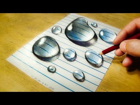 Drawing  Water Drops on Line Paper - How to Draw 3D Drops - VamosART