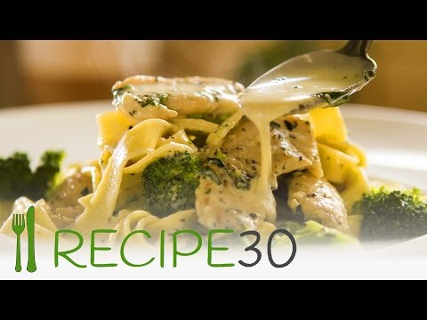 CHICKEN BROCCOLI FETTUCCINE ALFREDO STYLE - By RECIPE30.com