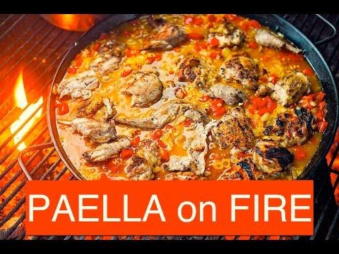 Quick & Easy Paella - Fire Cooked Chicken, Pork, Beef Paella Recipe