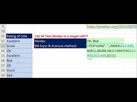 Excel Magic Trick 1304: List Text Modes in Single Cell TEXTJOIN, INDEX, N, IF, MATCH & MODE.MULT