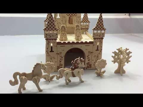 3D Woodcraft Construction Kit DIY, How to make a wooden Princess Castle