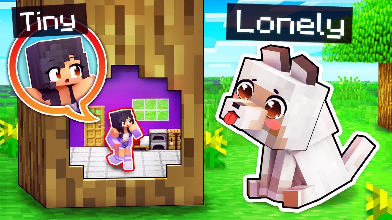 I'm TINY With A LONELY Puppy In Minecraft!