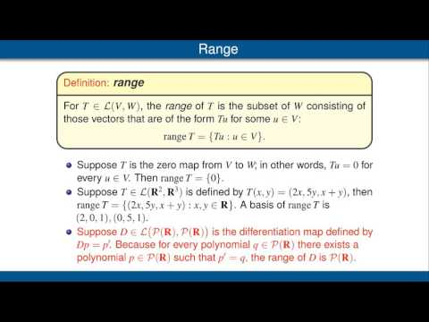 Null Spaces And Ranges