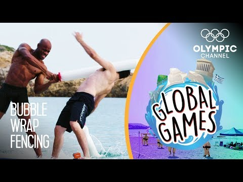 Bubble Wrap Fencing - Olympians vs Influencers | The Global Games