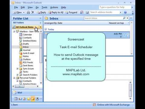 How to send message at specified time using tasks in Microsoft Outlook scheduler