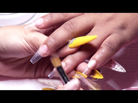 Glimmering Gold French Tips Acrylic Nails Full Set