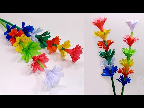 Beautiful & Easy Stick Paper Flower with Color Paper | Making Stick Flower |Jarine's Crafty Creation
