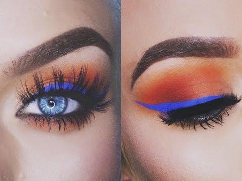 Sunset Eyes + Blue Eyeliner Makeup Tutorial | Naomi