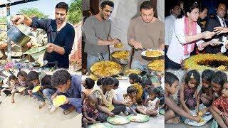 Bollywood Actors Feeding Food and Helping Poor People during Lockdown-Salman,Anupam,Akshay