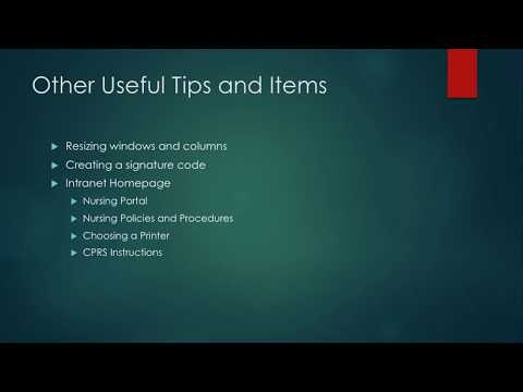 Intro to CPRS For Nursing Students 21: Useful Tips and Items