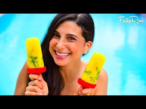 Pineapple Mango Mint Popsicles! ☀️🌈 FullyRaw & Vegan!