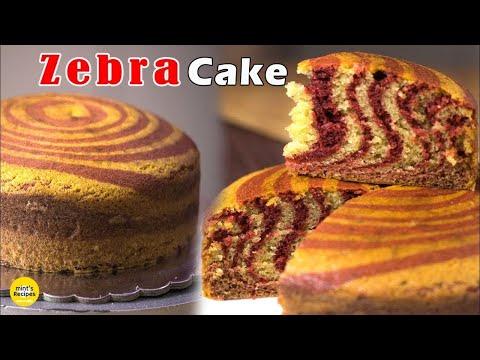 Eggless Zebra Cake Recipe in Microwave Oven | Recipe in Hindi | Mints Recipes