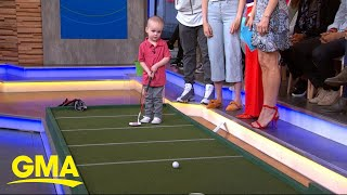2-year-old golf prodigy practices his swing live on 'GMA'