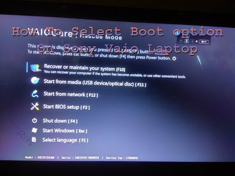 How to Select Boot option on Sony Vaio Laptop